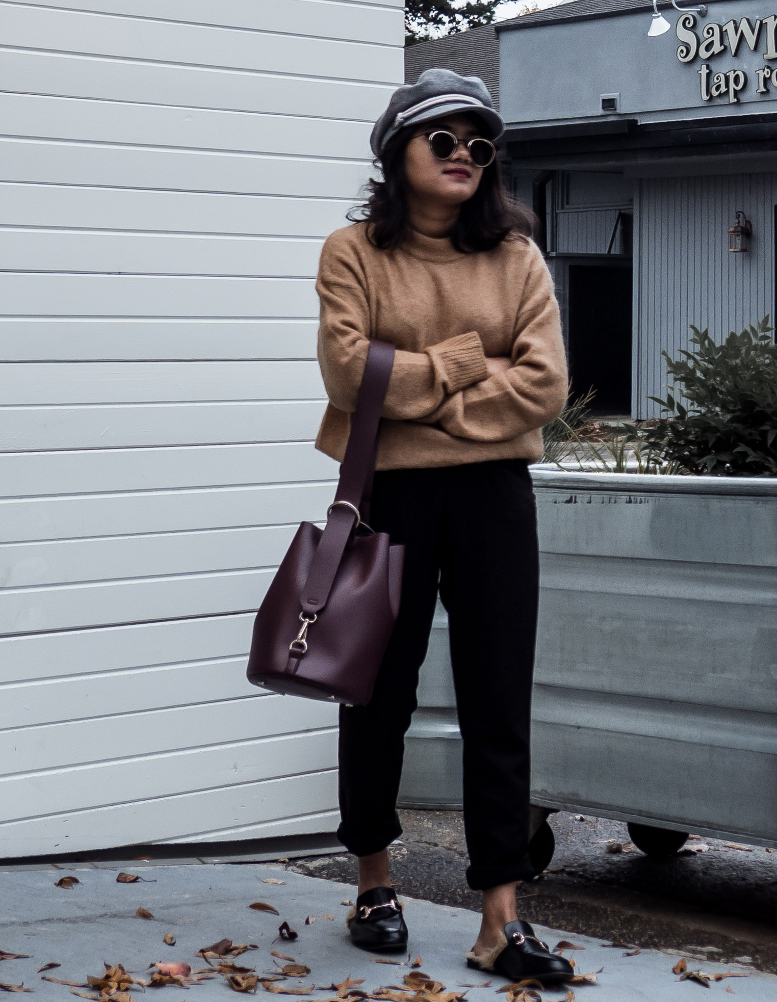 H&M Camel Mohair Sweater with Asos Petite Trousers