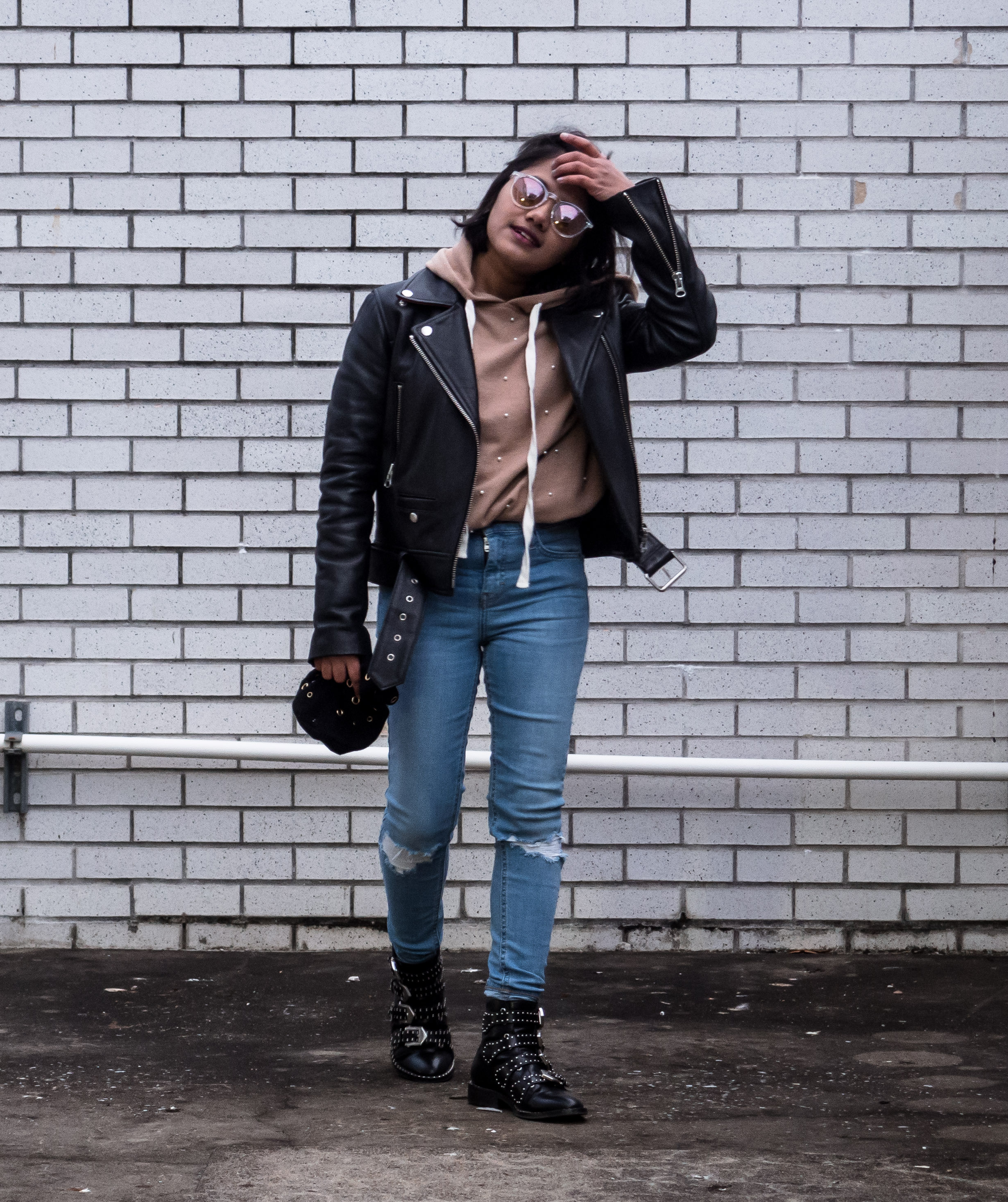 Petite Biker Outfit with Camel Hoodie