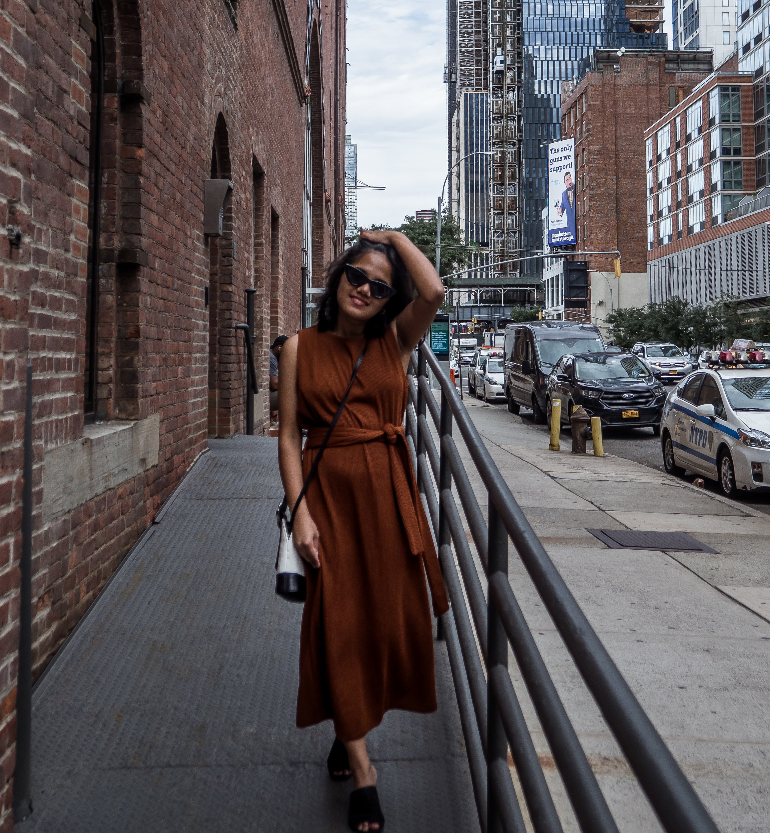 Rust Brown Colored Midi Dress