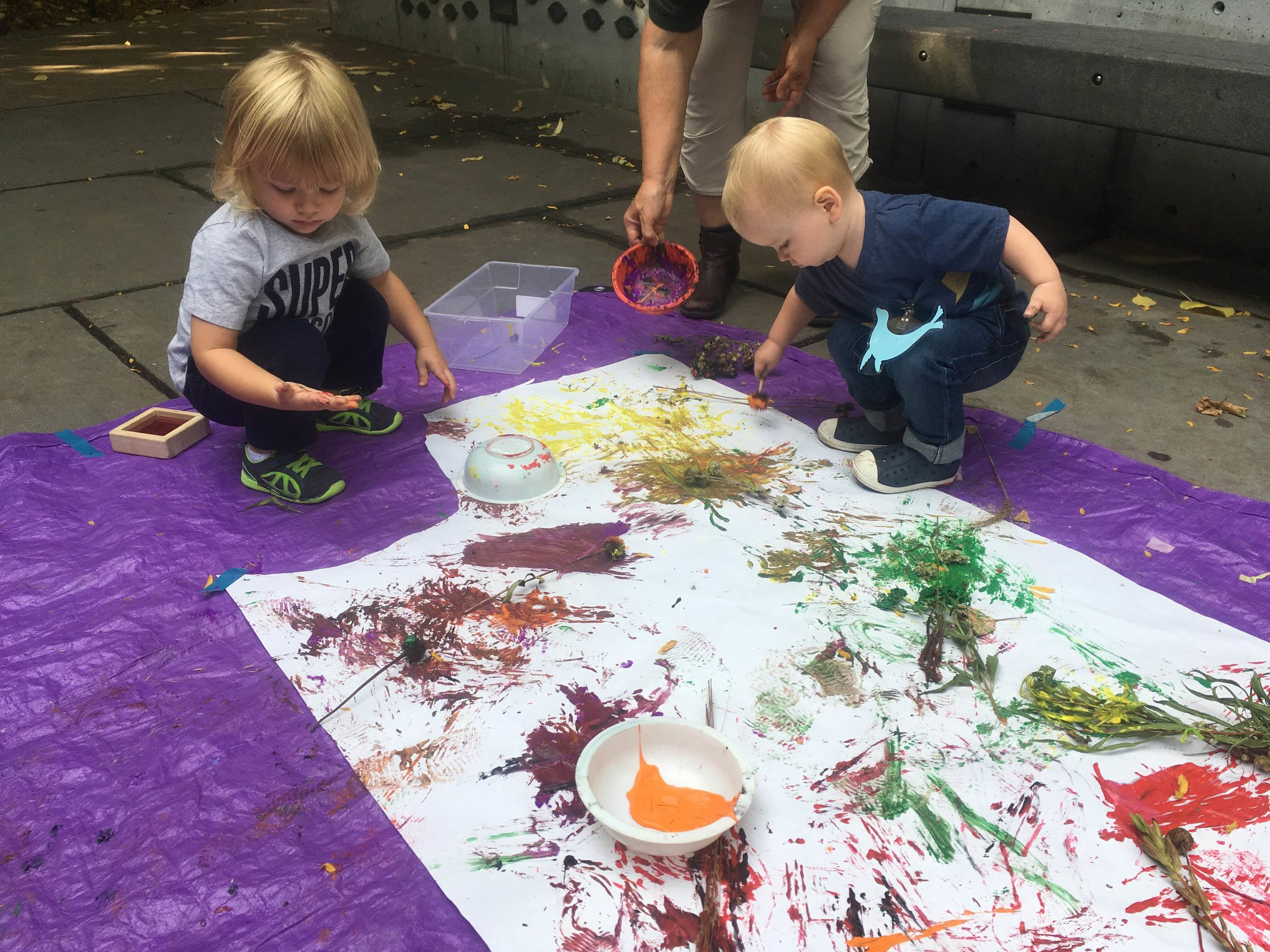 Painting with prairie flowers and grasses is another engaging, sensory activity using plants!