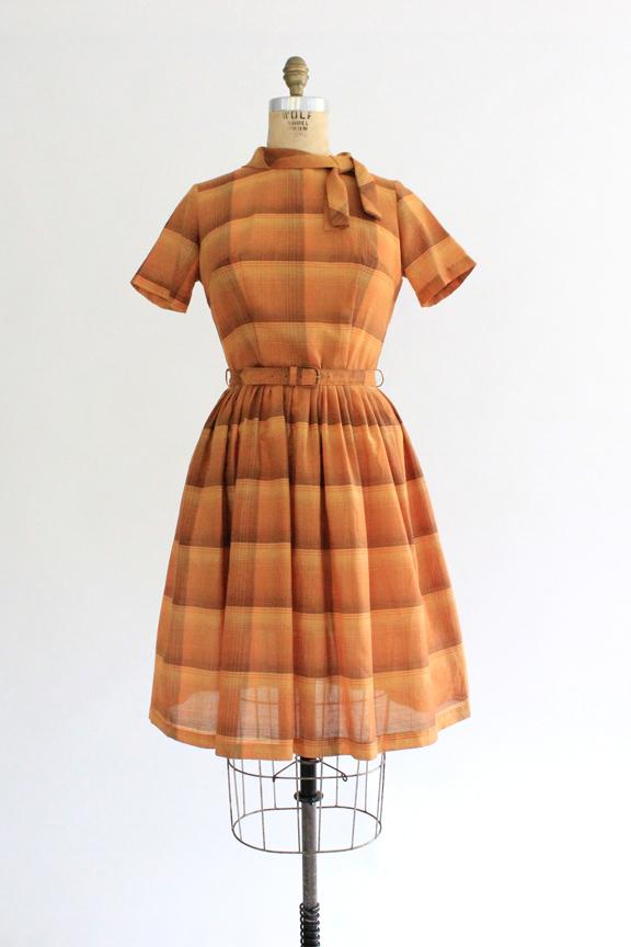 vintage 1950s burnt orange plaid dress