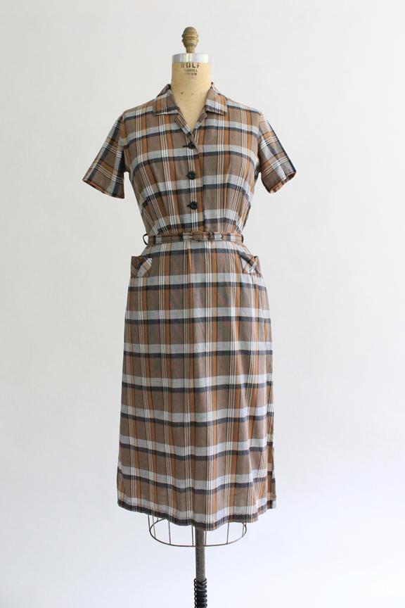 vintage 1950s brown plaid day dress