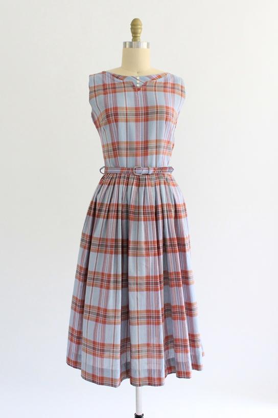 vintage 1950s plaid schoolgirl dress