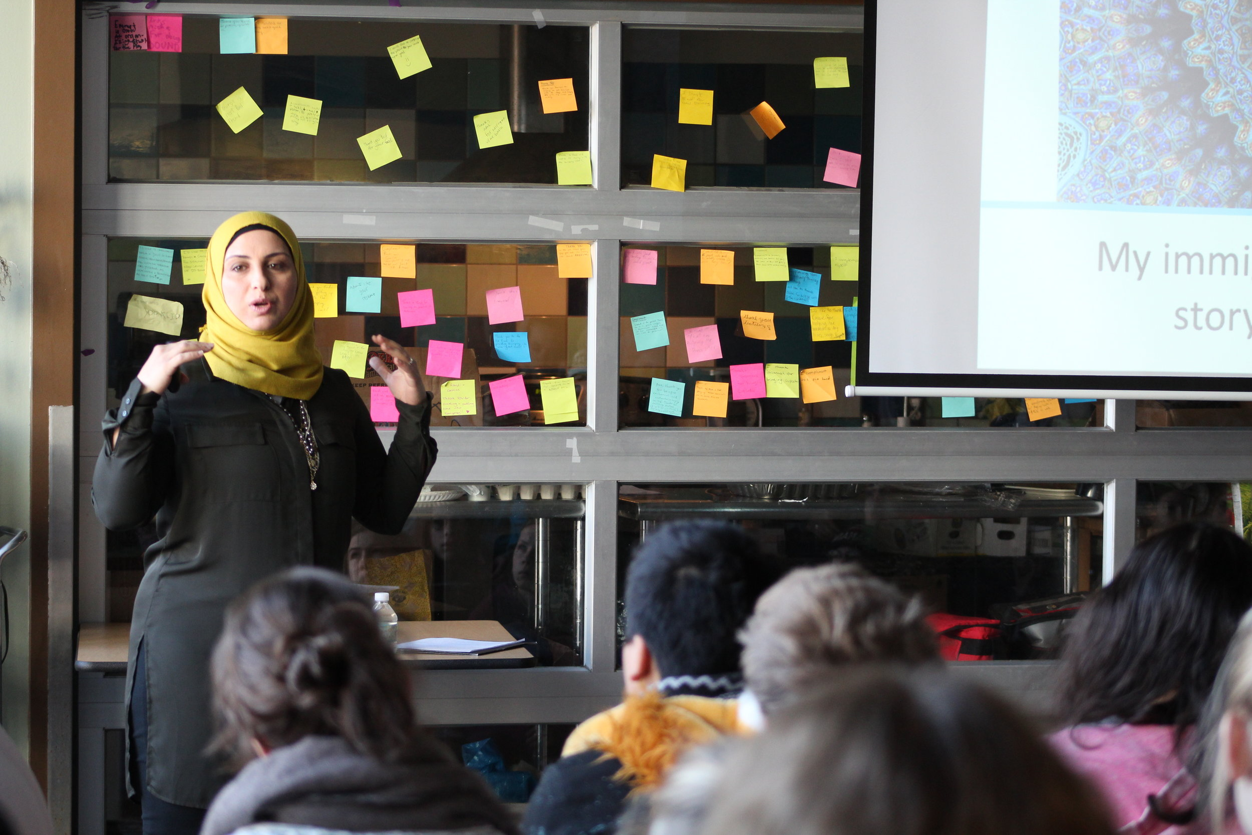 Keynote speaker Hanadi Chehabeddine speaks to a group of students about fighting fear and ignorance.