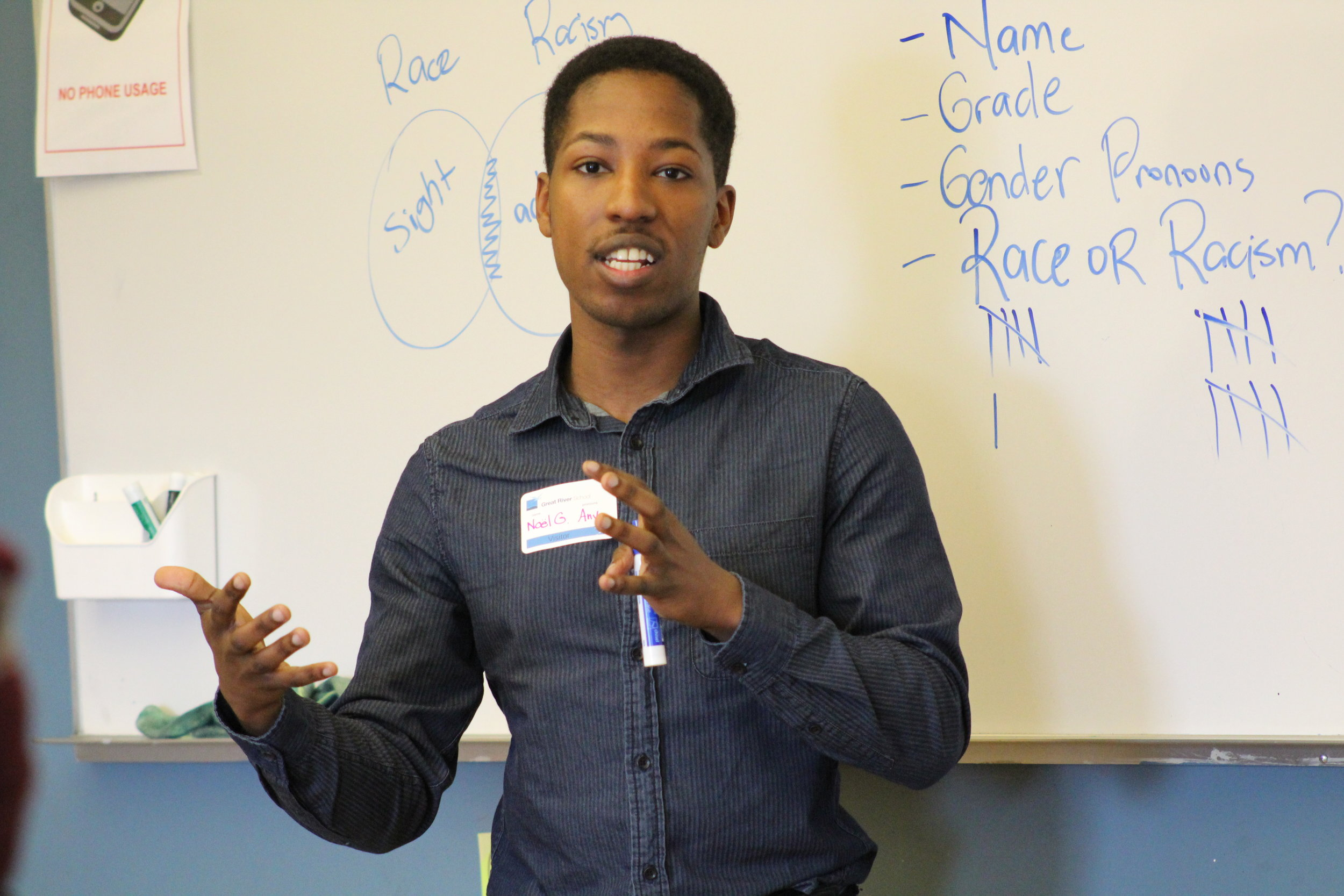 Workshop facilitator Noel Gordon speaks to a room of GRS students