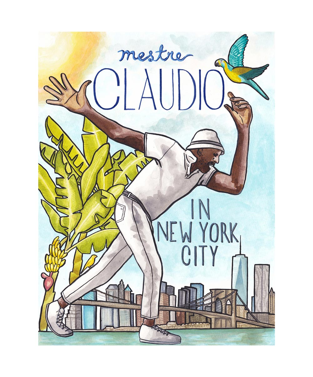 Claudio in NYC. Acrylic ink illustration and graphic design. 2018.