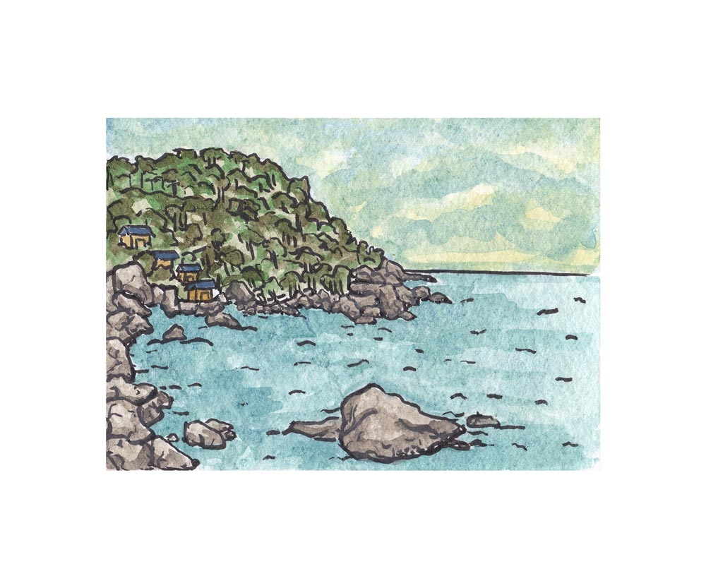 Hin Wong Bay, Thailand . Watercolor and pen. 2017.