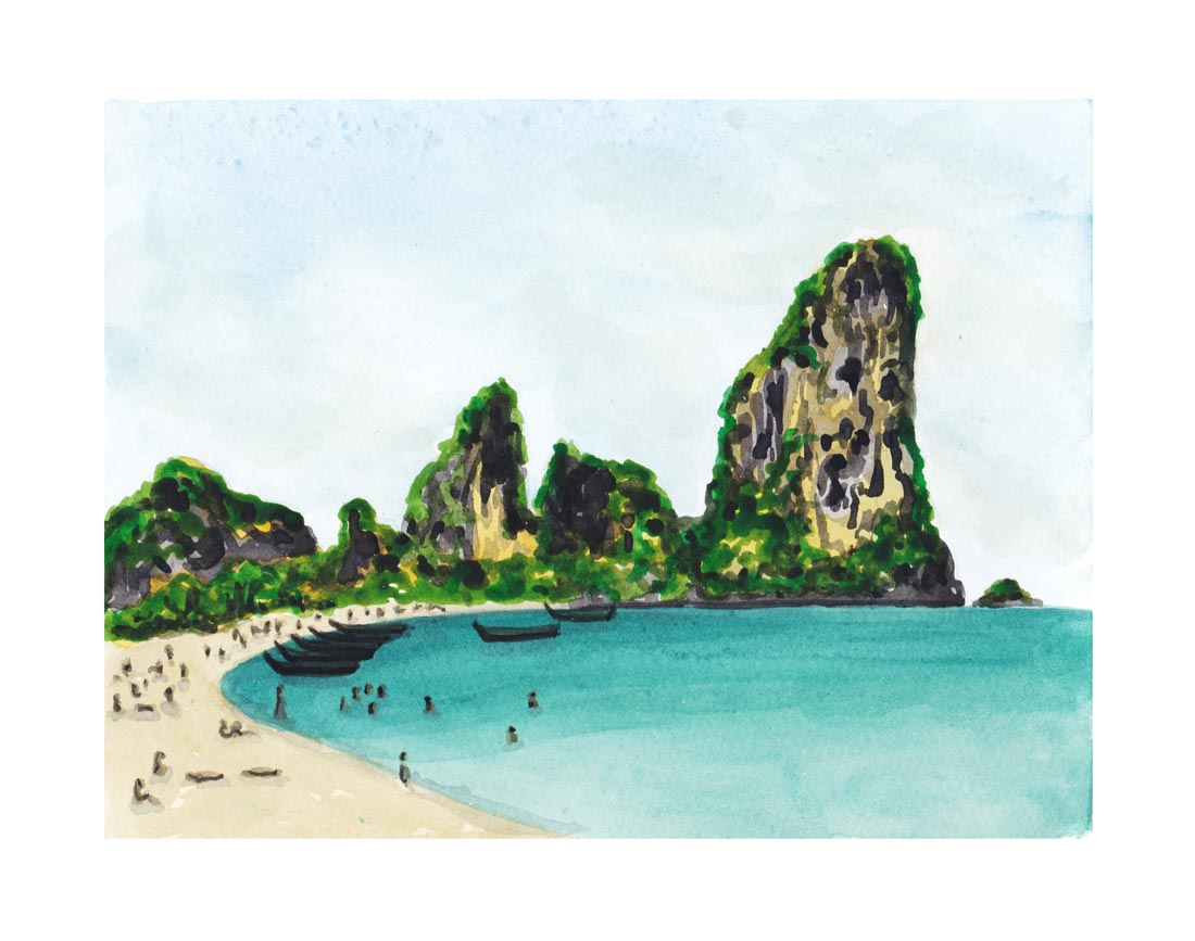 Railay Beach Thailand. Watercolor. 2017.