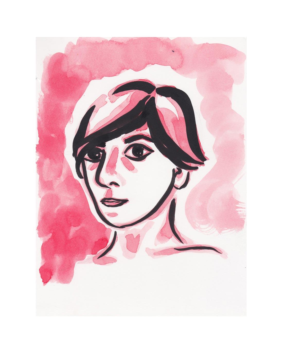 Sabina Selfie.  Acrylic ink. 2017.