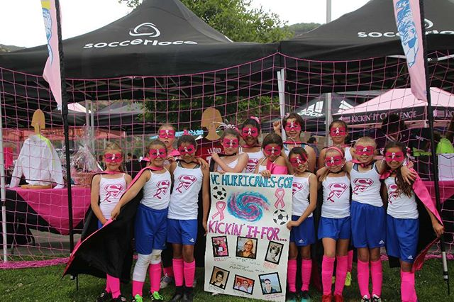 G2007 Hurricanes are superheroes showing their support for family members impacted by breast cancer. (Front) #kickinitchal #komensd