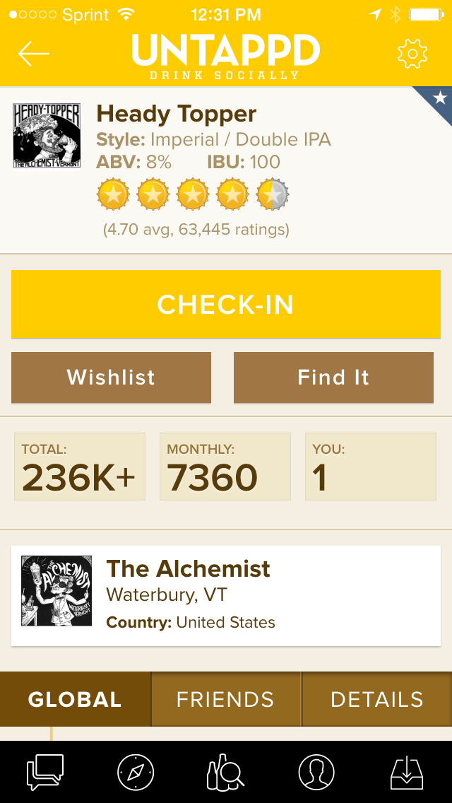 Iwas able to check-in this beer on untappd. Once.