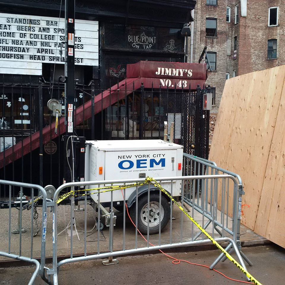 The entrance to Jimmy's No. 43 today at 5pm. (Photo by Jimmy Carbone)