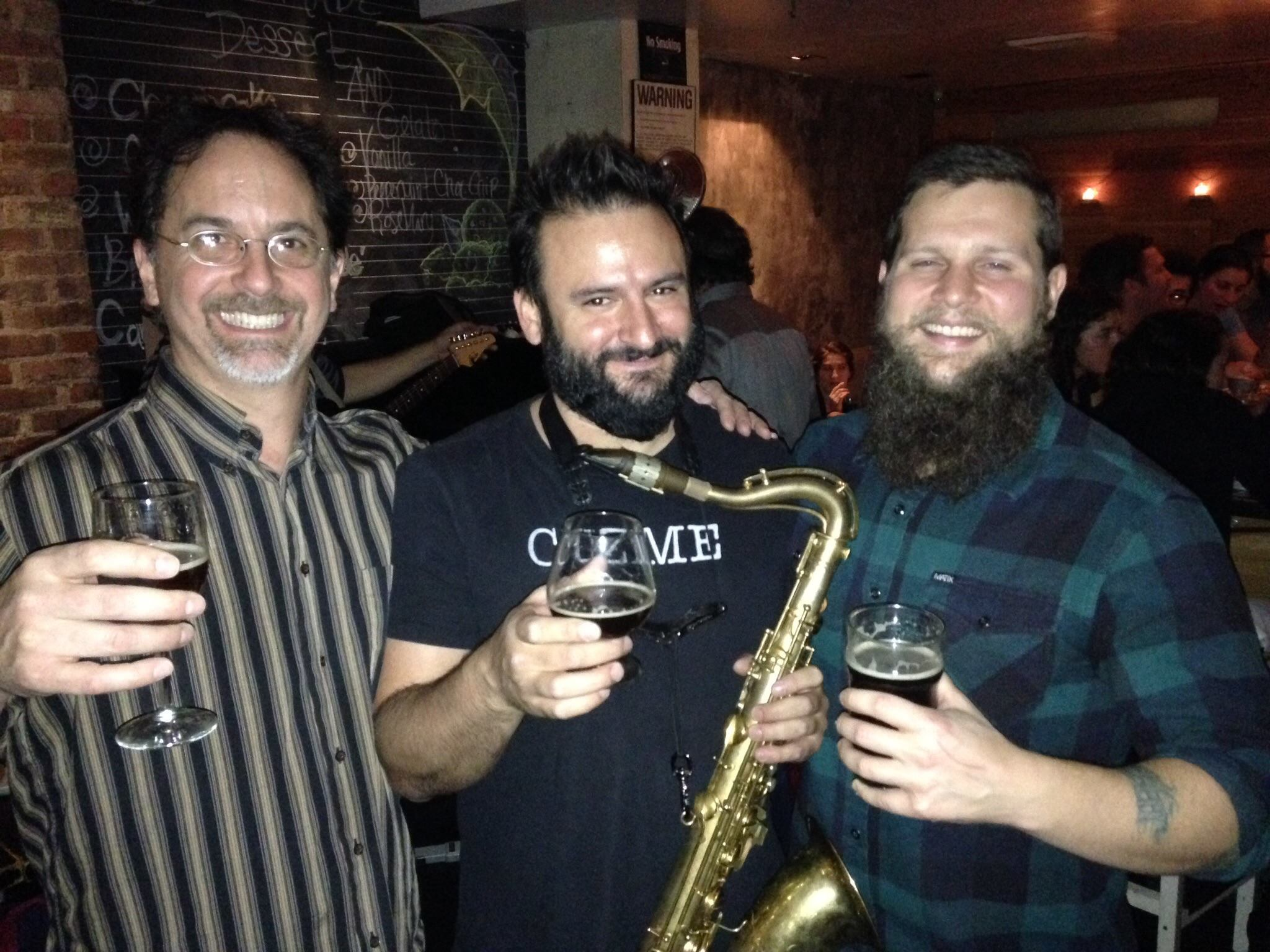 John LaPolla (Bitter and Esters), Chris Cuzme (Cuzette Libations) and 2014 Audience Choice winner Frank Lockwood at the release of his collaboration with Chris at 508 Gastrobrewery in November, 2014.