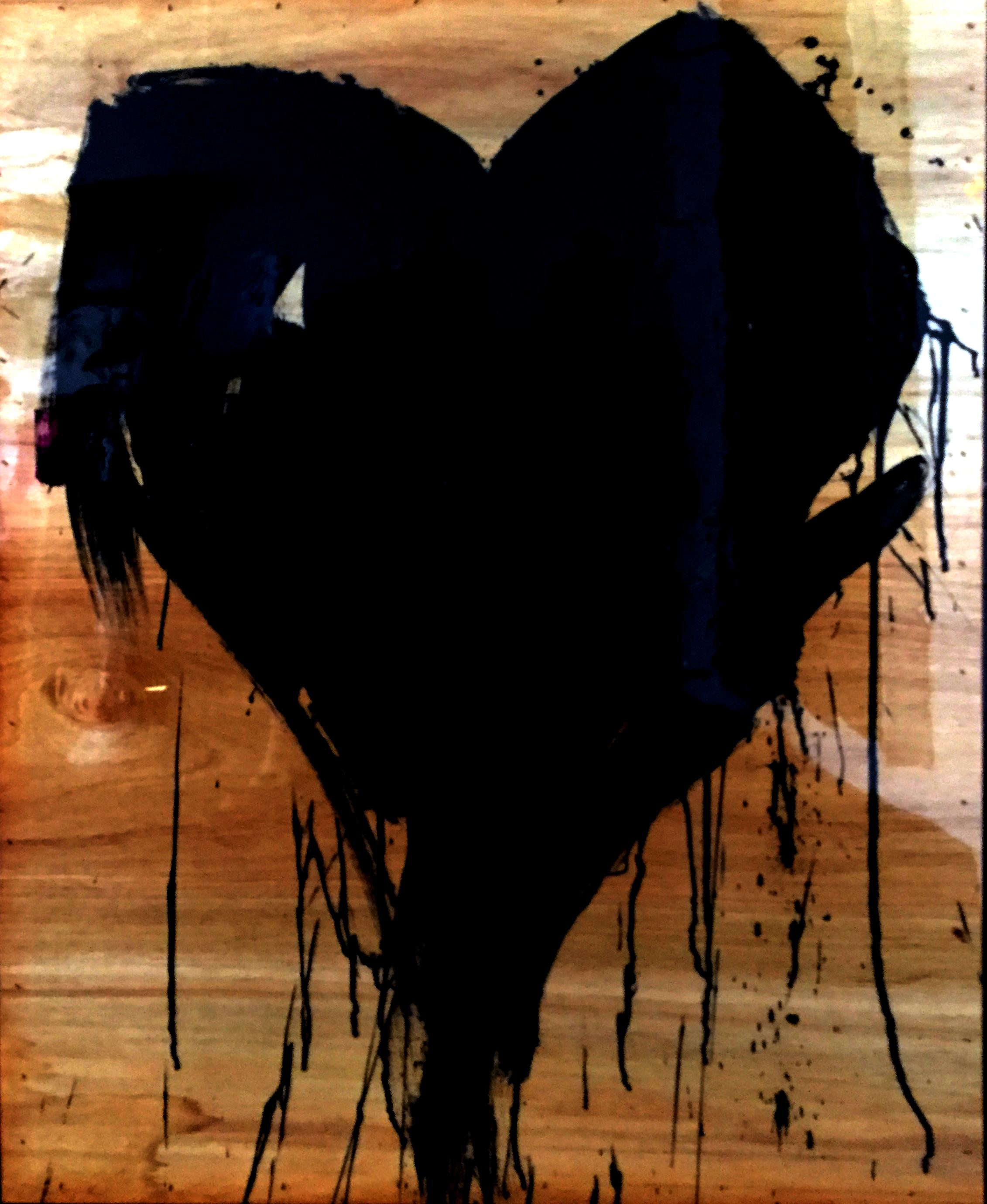 """BLACK HEART  48""""x36"""""""