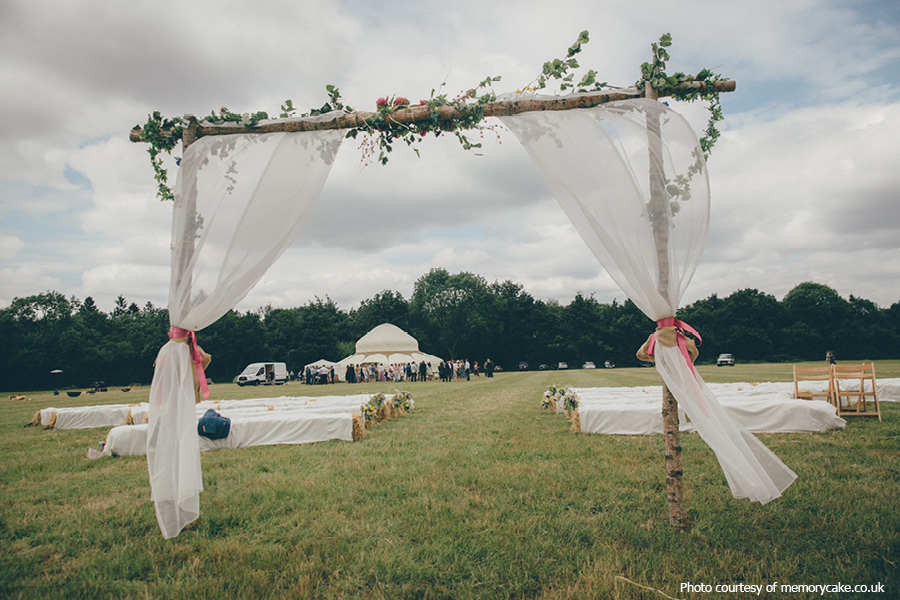 Outdoor ceremony at Phoenice Fields
