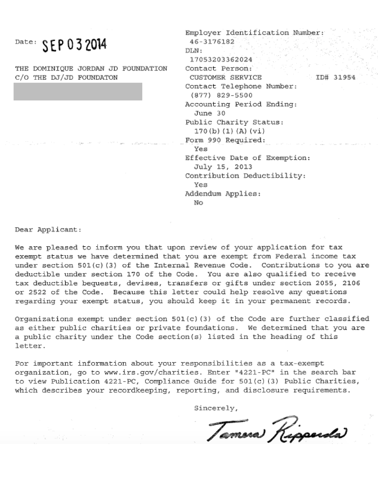DJ|JD + IRS Determination Letter