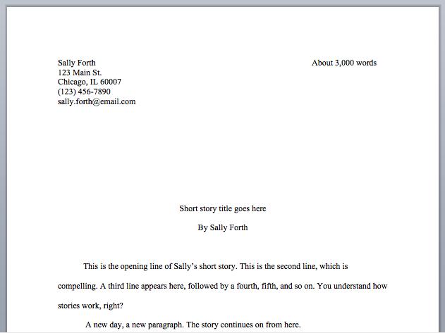 Short story format