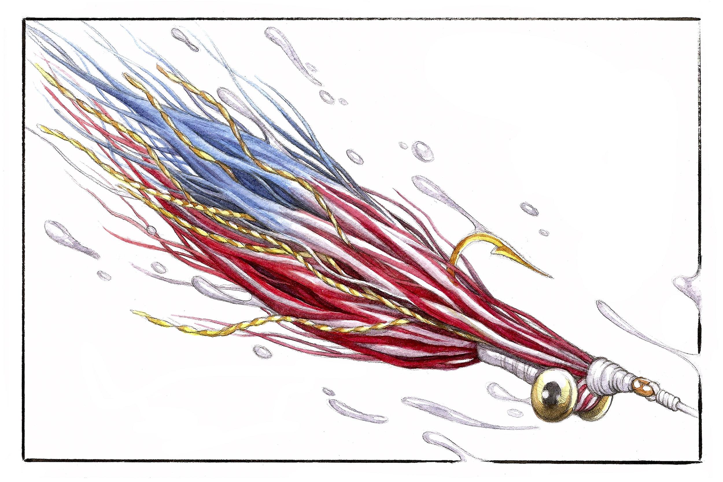 Patriotic Clouser Minnow  | Pencil, Watercolor, and Marker.