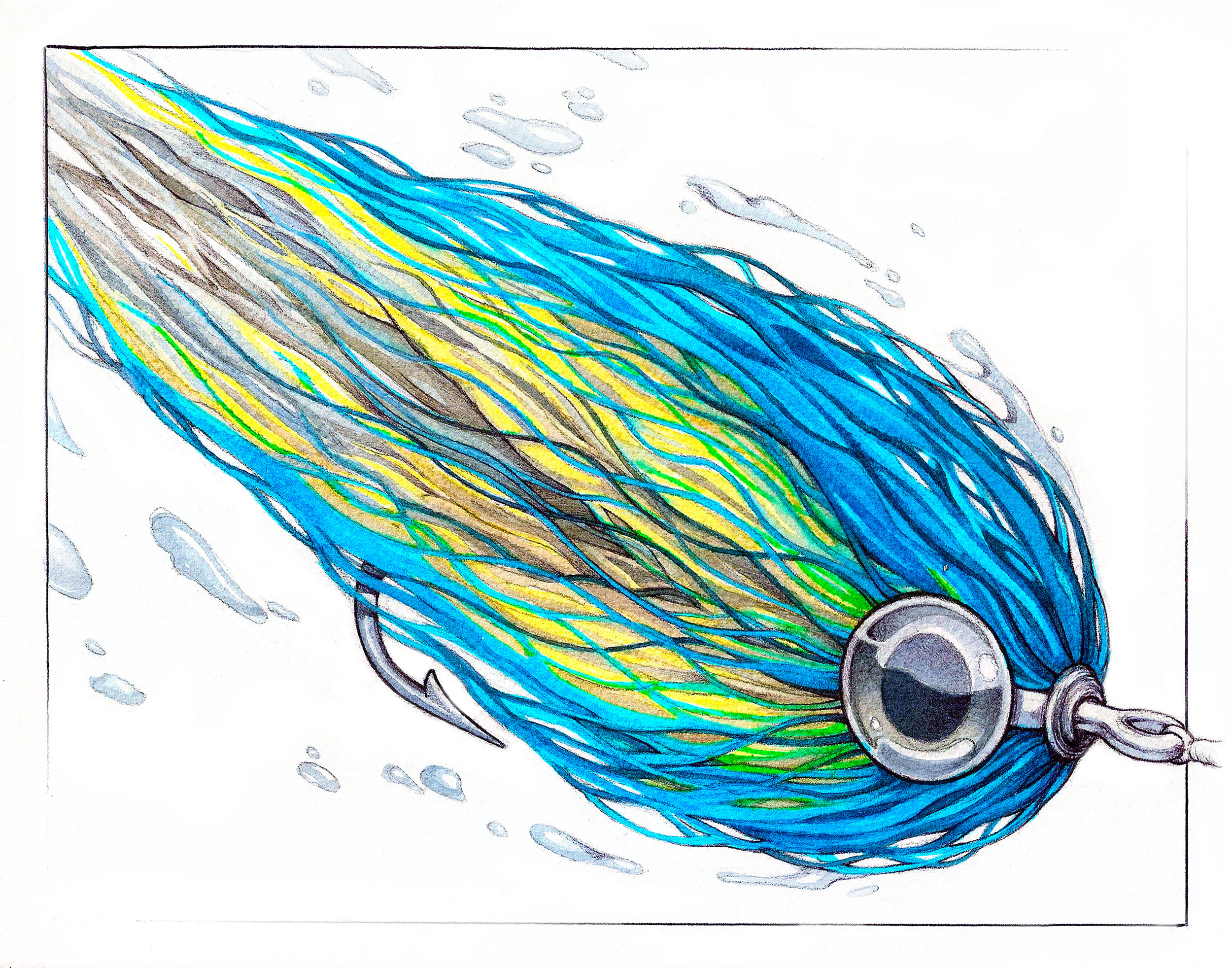 Bulkhead Streamer  tied by Ben Whally | Marker, Watercolor, and Pen