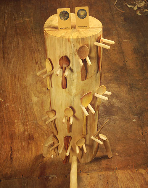 Rustic display stand for wooden utensils. Legs are optional.