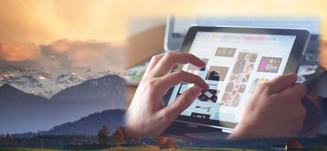 Composite image of photos of the sun setting behind the mountains and hands using a tablet.