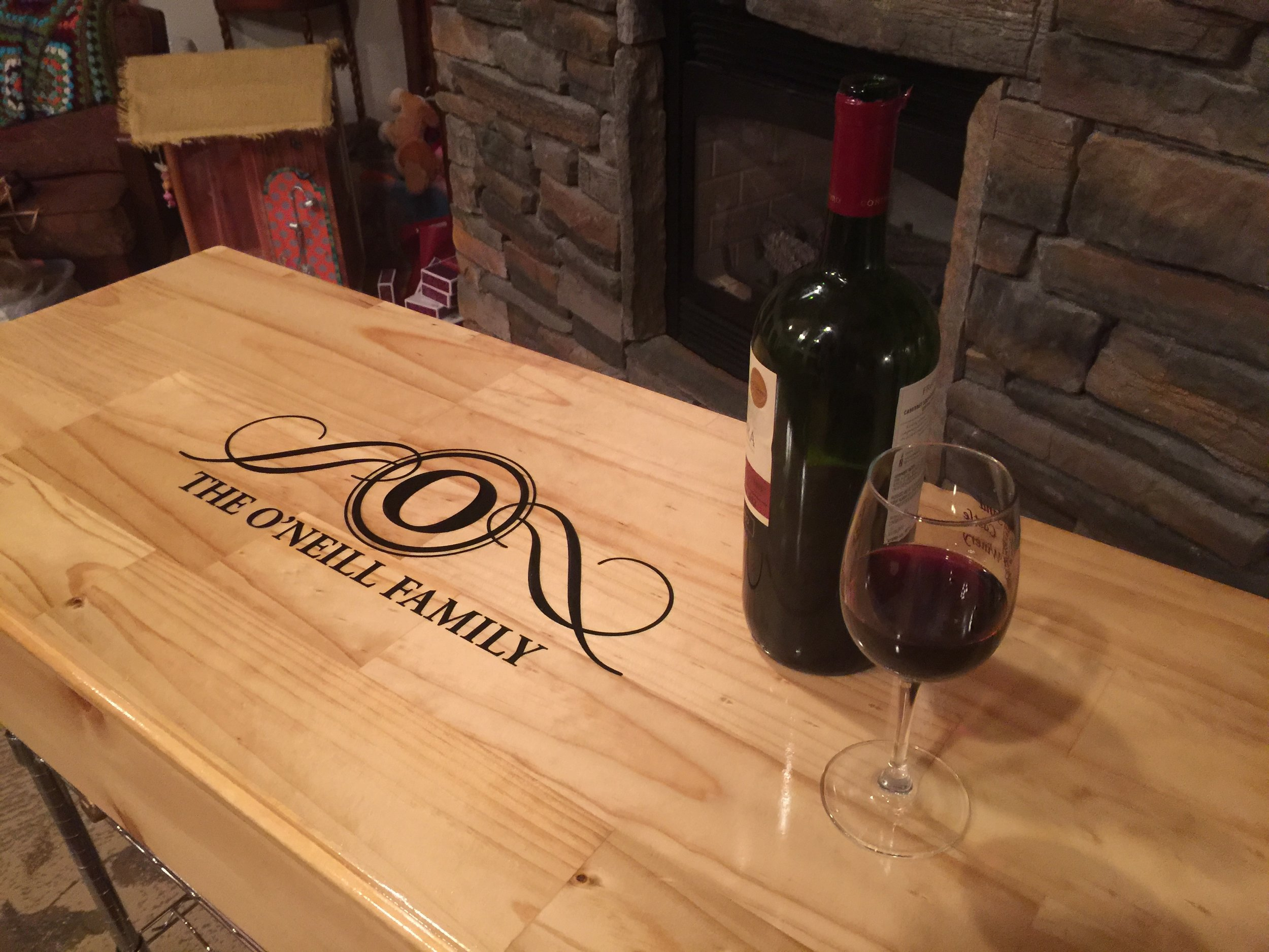Wine Bar in a Box.  Custom Center Piece for the Vino Lover!