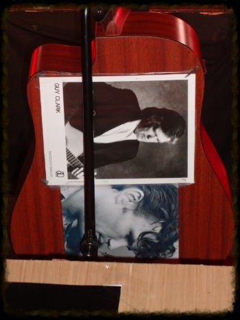The back of Austin's guitar houses 2 of his Idols -