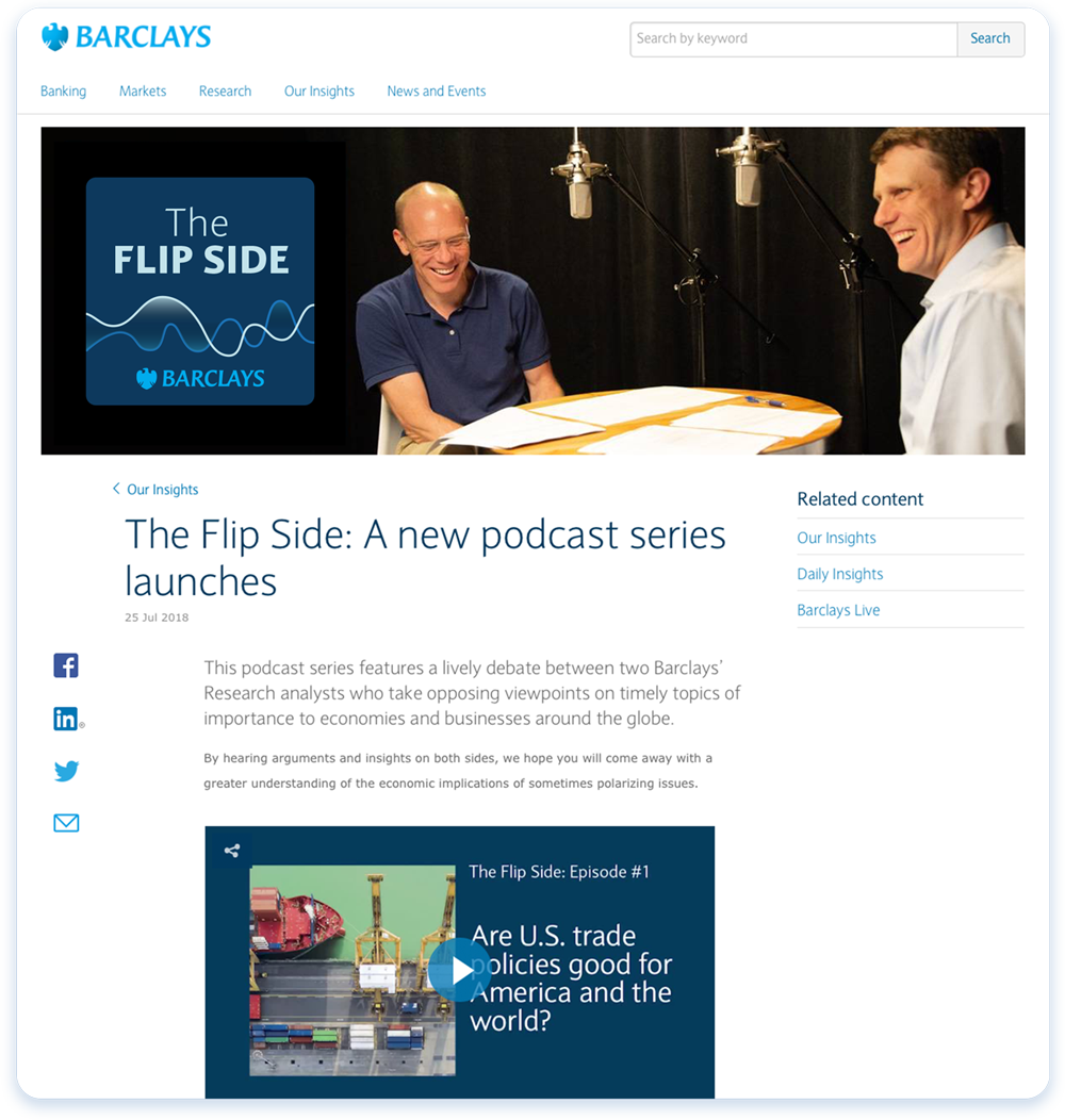 Podcast Design and concept for Barclays Investment bank