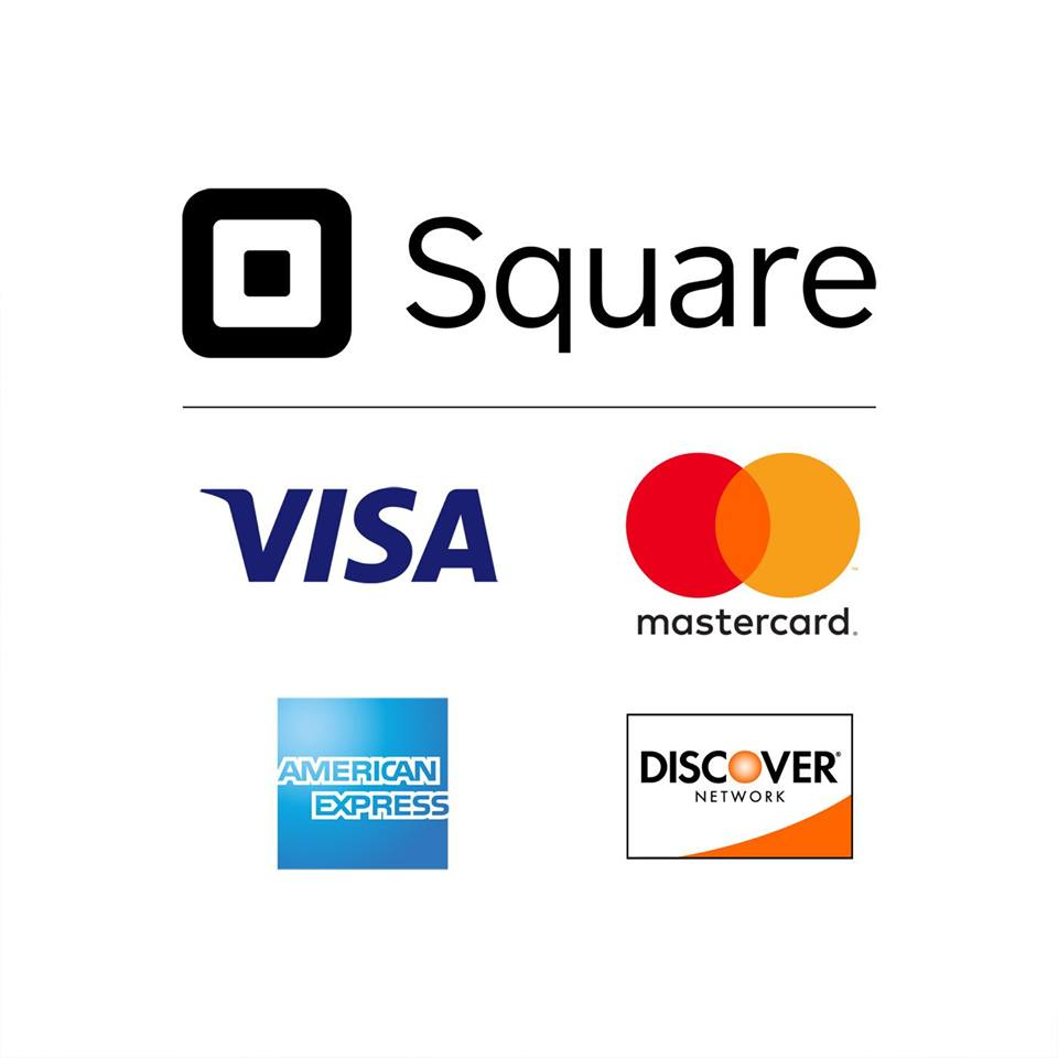 We are now accepting all major credit cards with square!