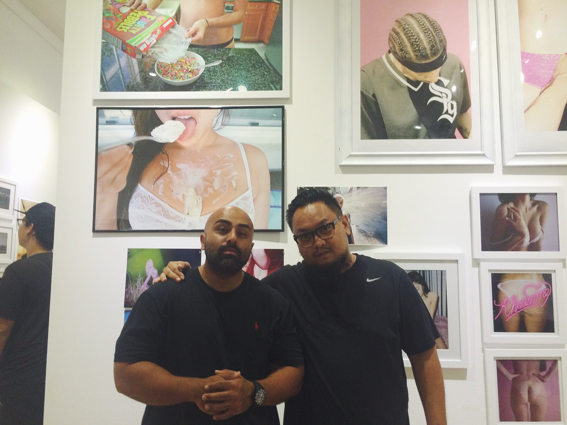 I accidentally deleted a photo of this wall, where I found two more of my pieces from the FOODPORN collection. So this photo of Big Mike and I will do. Shout out to Big Mike for making out to the show just for a few minutes, much love.