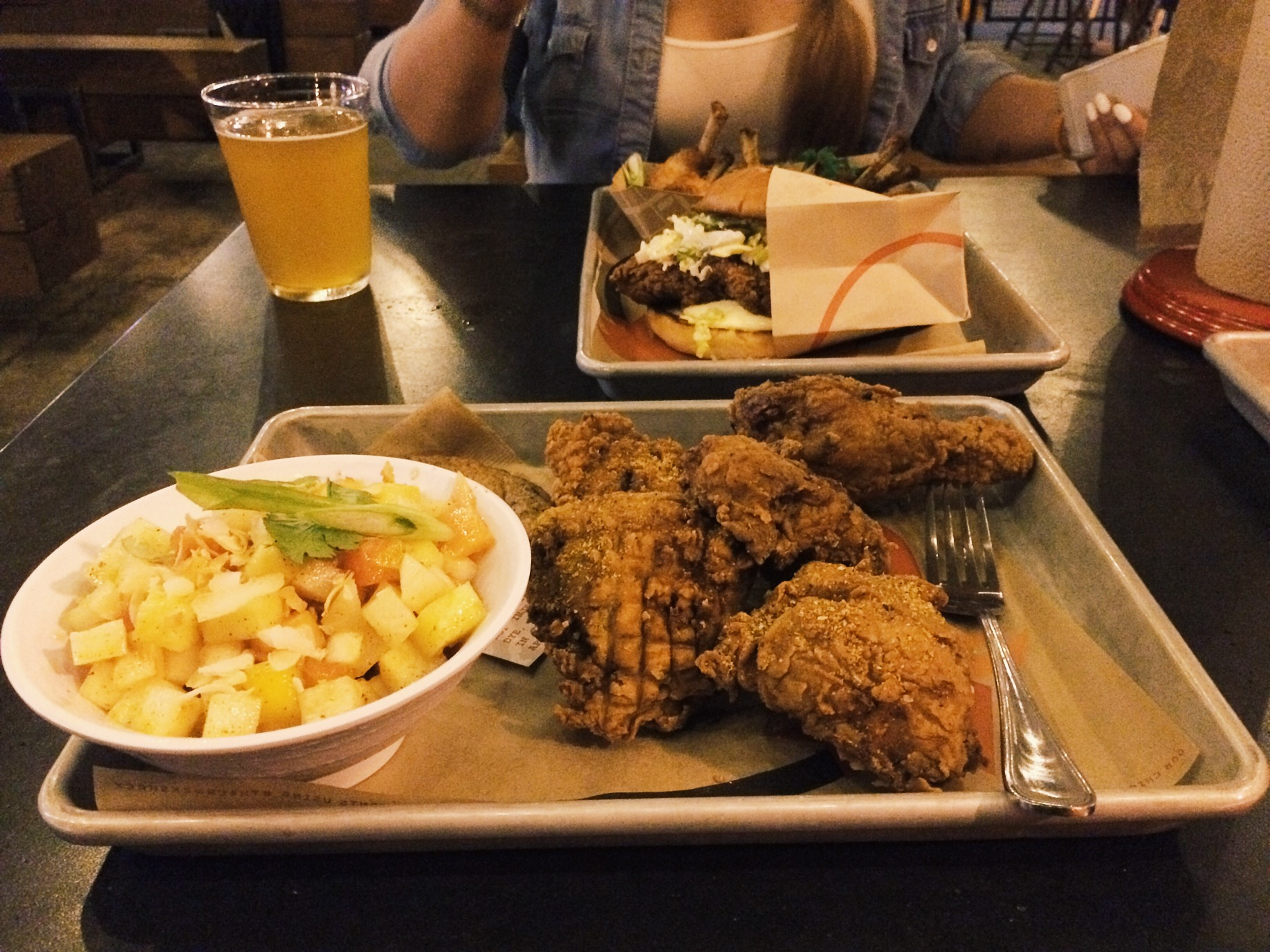 Border Slaw and 5 Piece Fried Chicken. I hate slaw but this was not your typical slaw. It has papaya and mango and a few other shit that taste pretty good. Mild fruity flavor.