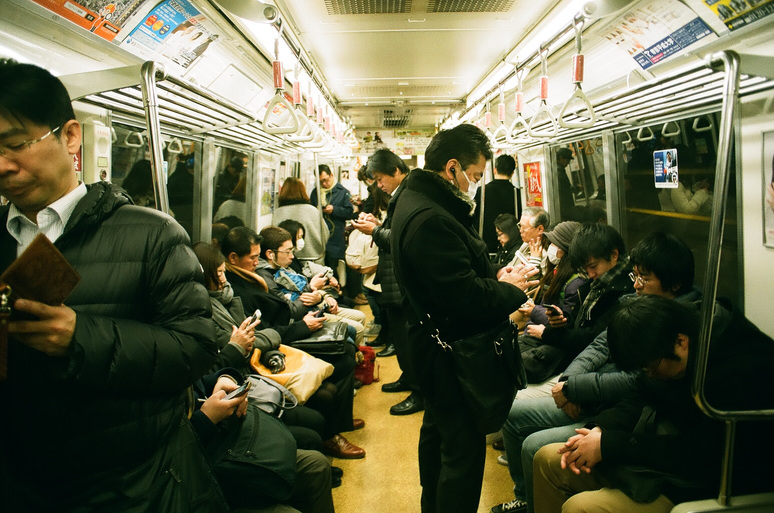 Everybody in Japan were on their phones, especially on the train.