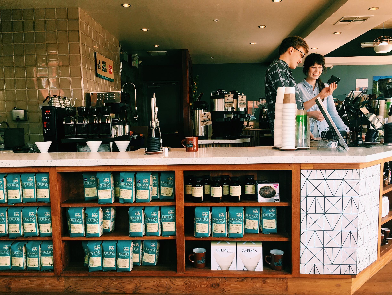Bird Rock Coffee shop, refreshing, bright, beautiful, and breezy.