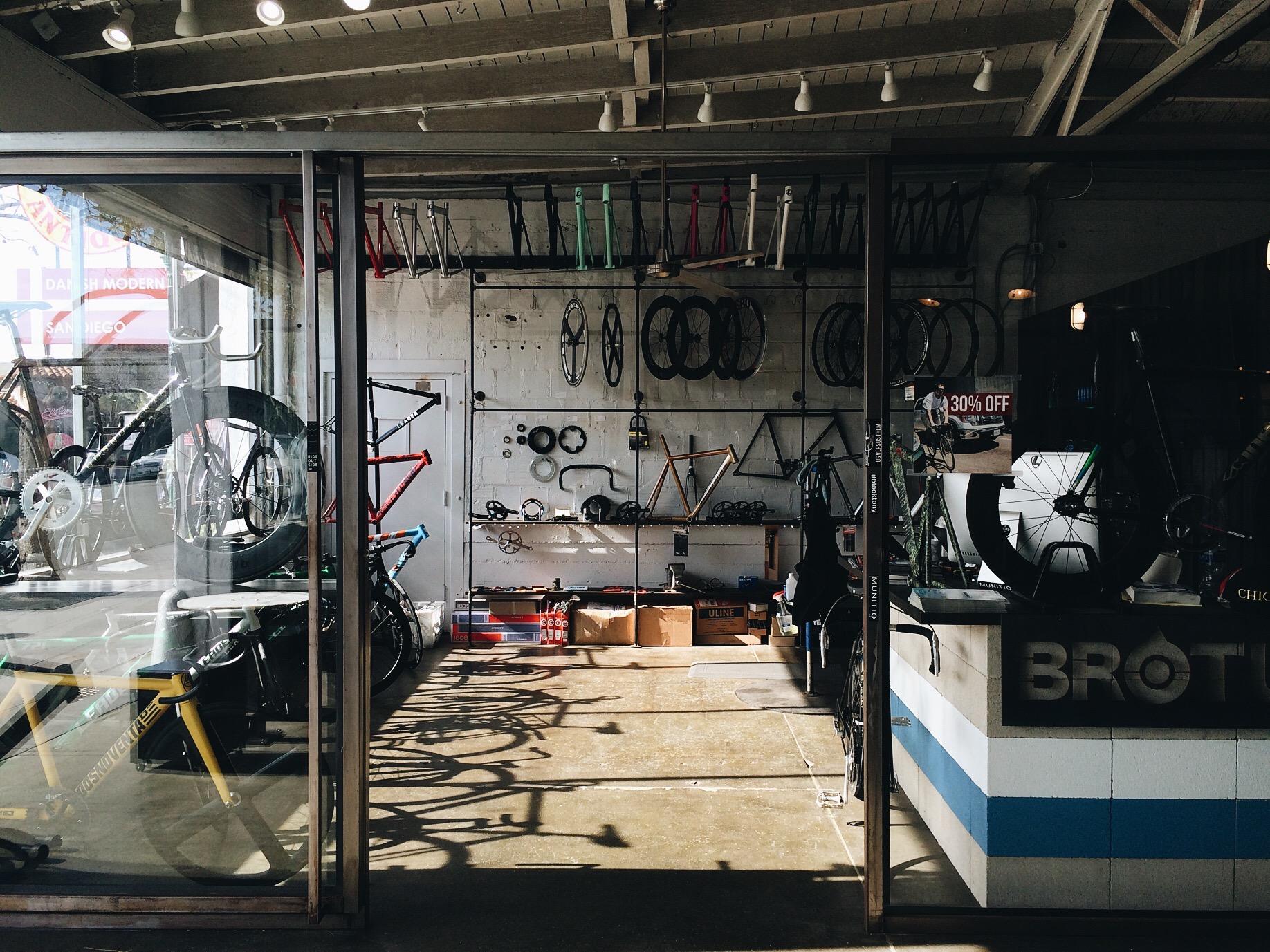 "A bike shop inside the ""market."""