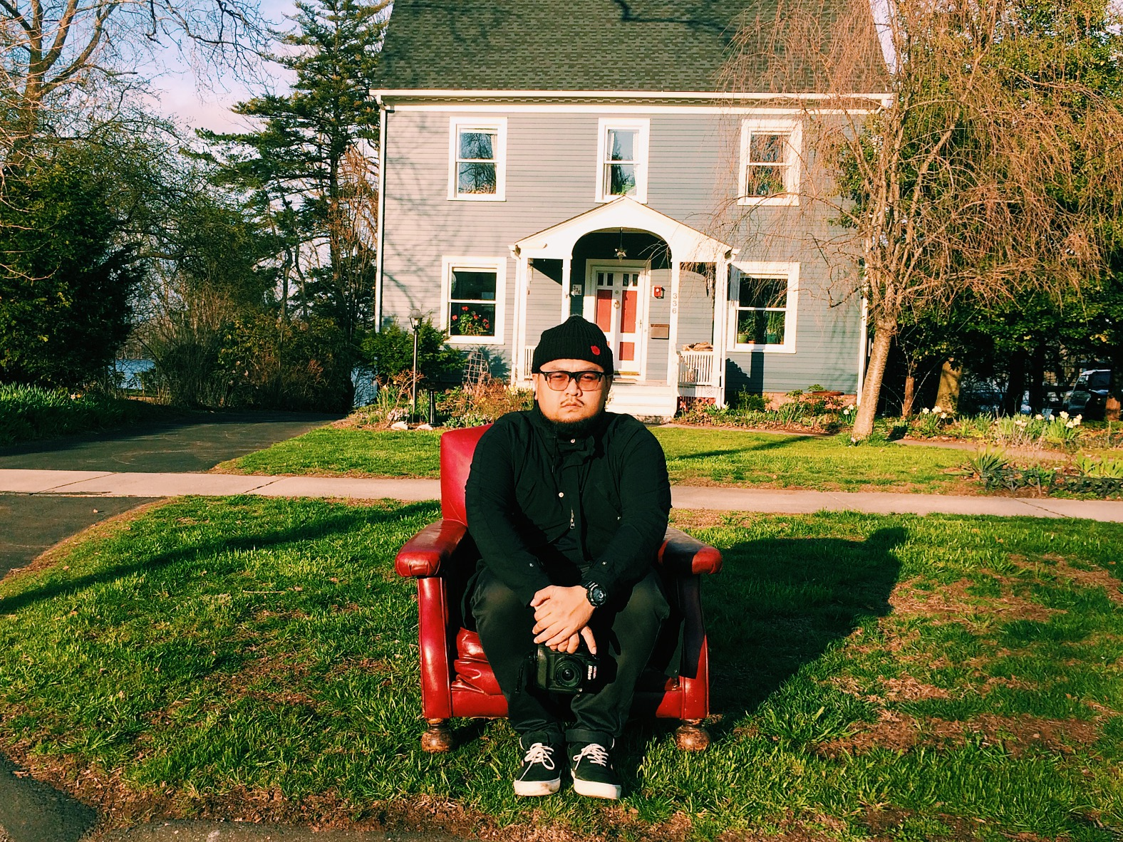 Found a red chair in someone's front yard and had to pull over for a photo.