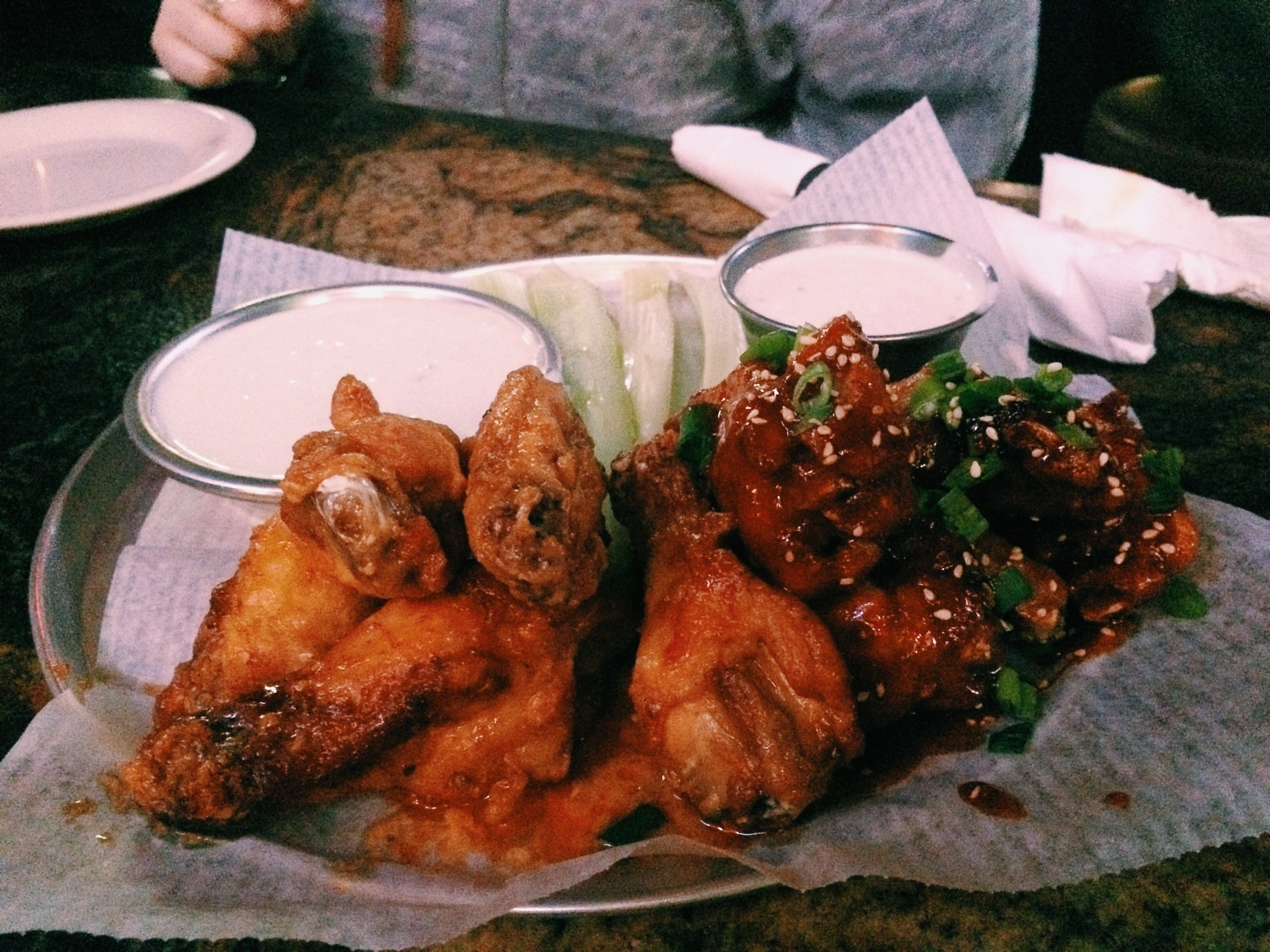 Buffalo wings and Korean Spicy wings. Buffalo was bland but the Korean Spice was pretty damn good.