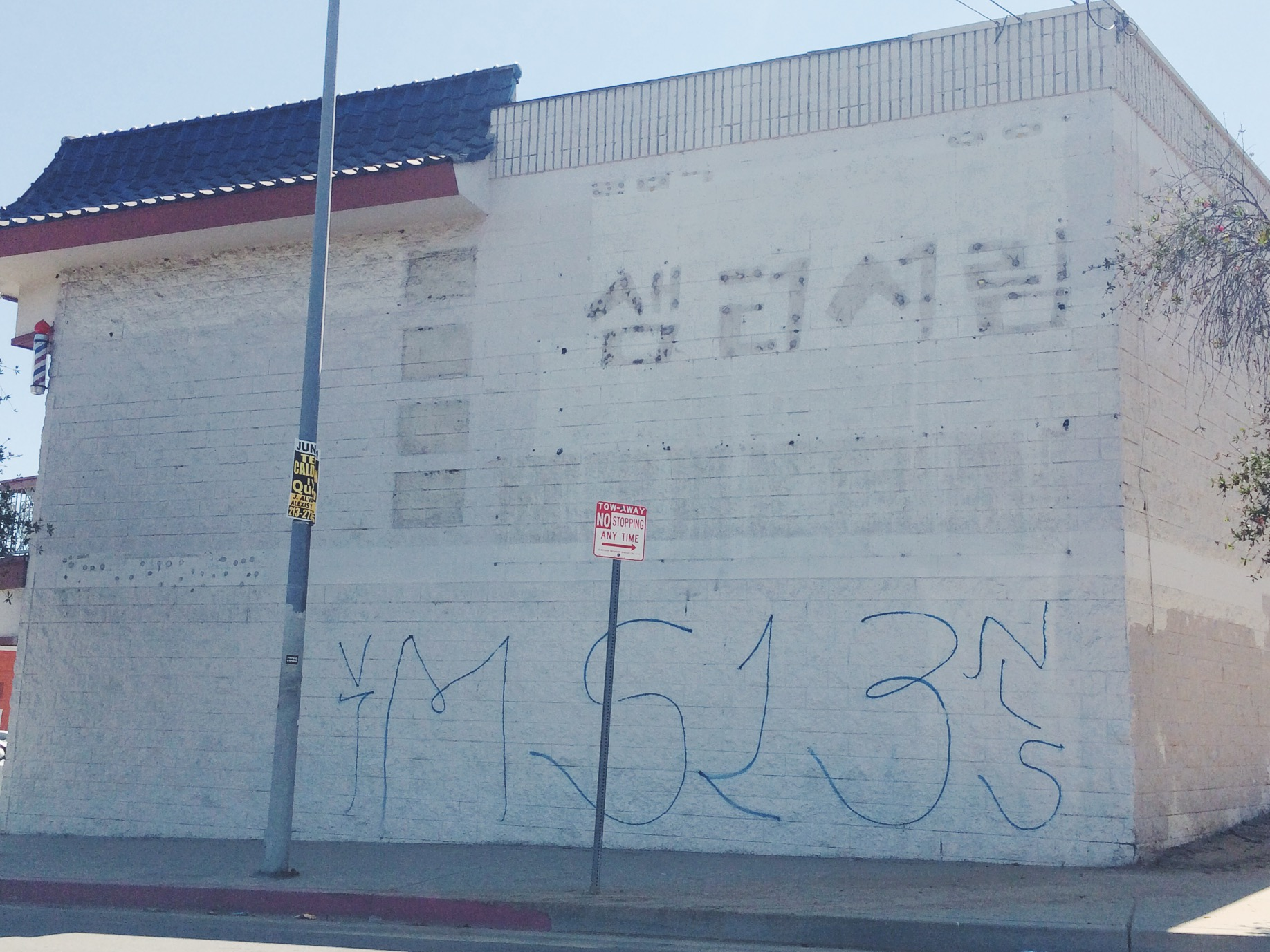We were greeted by this once we exit the freeway. MS13 tags on every block till we reached the middle of the K-Town.