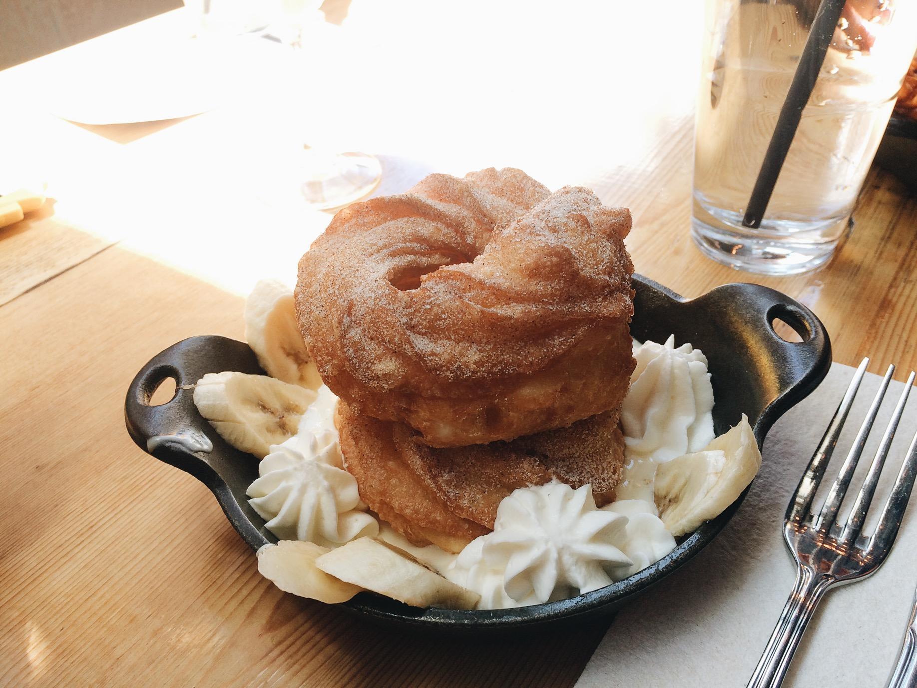 Kristina idea of a meal, Cruller Donut for brunch.