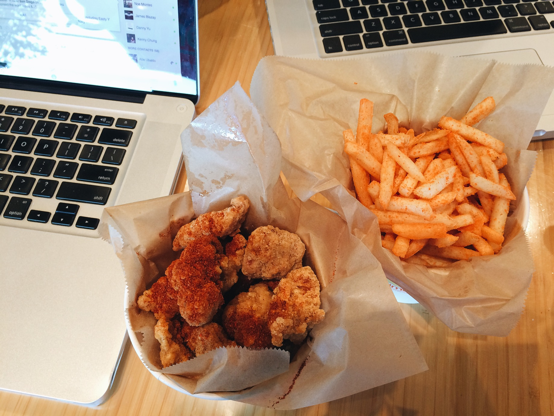 Spicy Popcorn Chicken, just like Tapex but meatier. Love it!