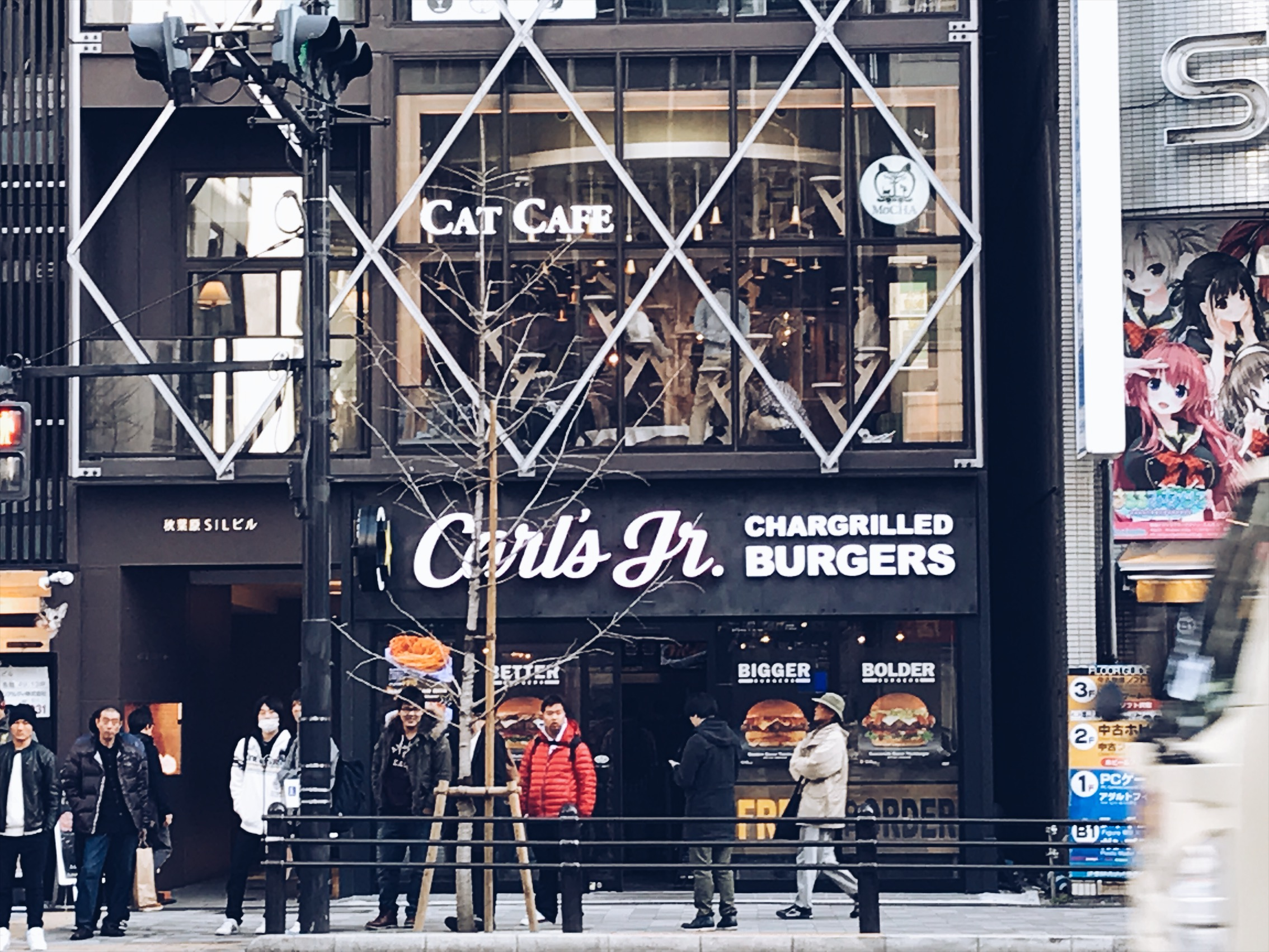 While I was geeking over this Carl's Jr in Japan Gina comes banging on my shoulders in excitement. I turned around to see what the fuck she was soooooo excited about it and she points to the Cat Cafe haha. It cost money to get in and drink coffee or tea with some cats and you have to be in there for 30 mins. Since us guys have no interest in cats we went to the third floor for beer, and air soft guns!!!