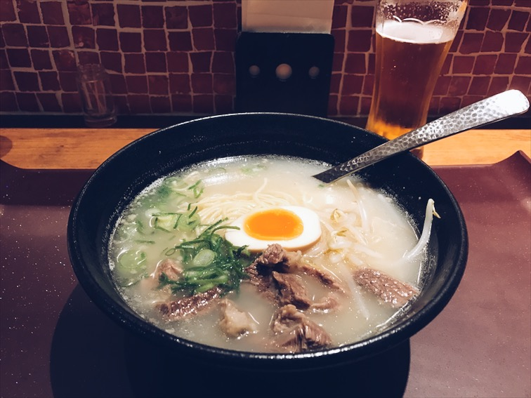 My Kobe Beef Ramen broth was kinda bland, but with the beef and noodles you'll have more flavor from the beef. Pretty good but not the best.