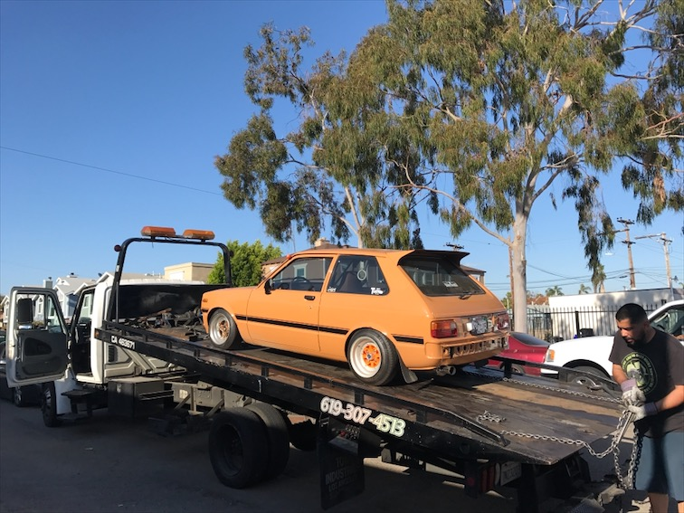 Oh yeah, David showed up with his Starlet on the tow truck.