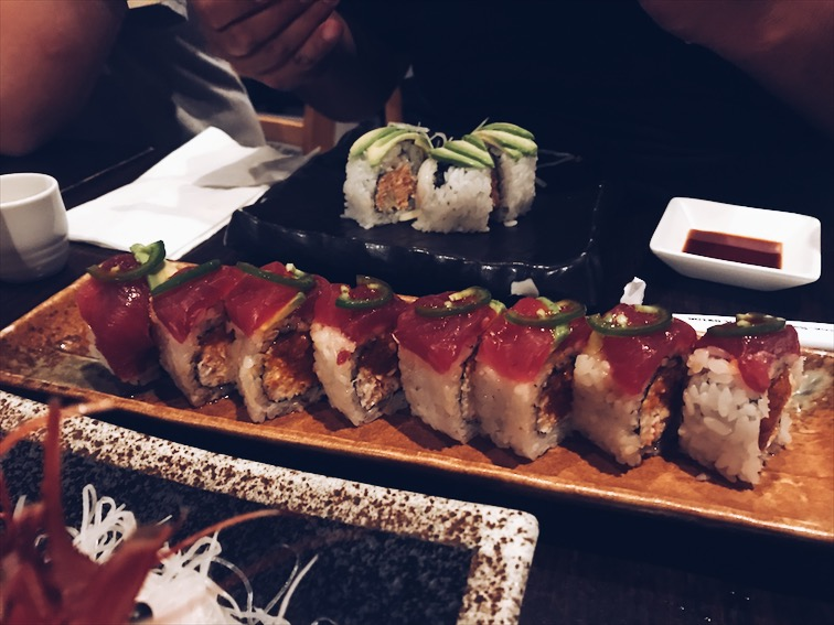 Dook ordered this, forgot what it was called. But it has Spicy tuna, Tuna on top, and Jalapenos for the spice.