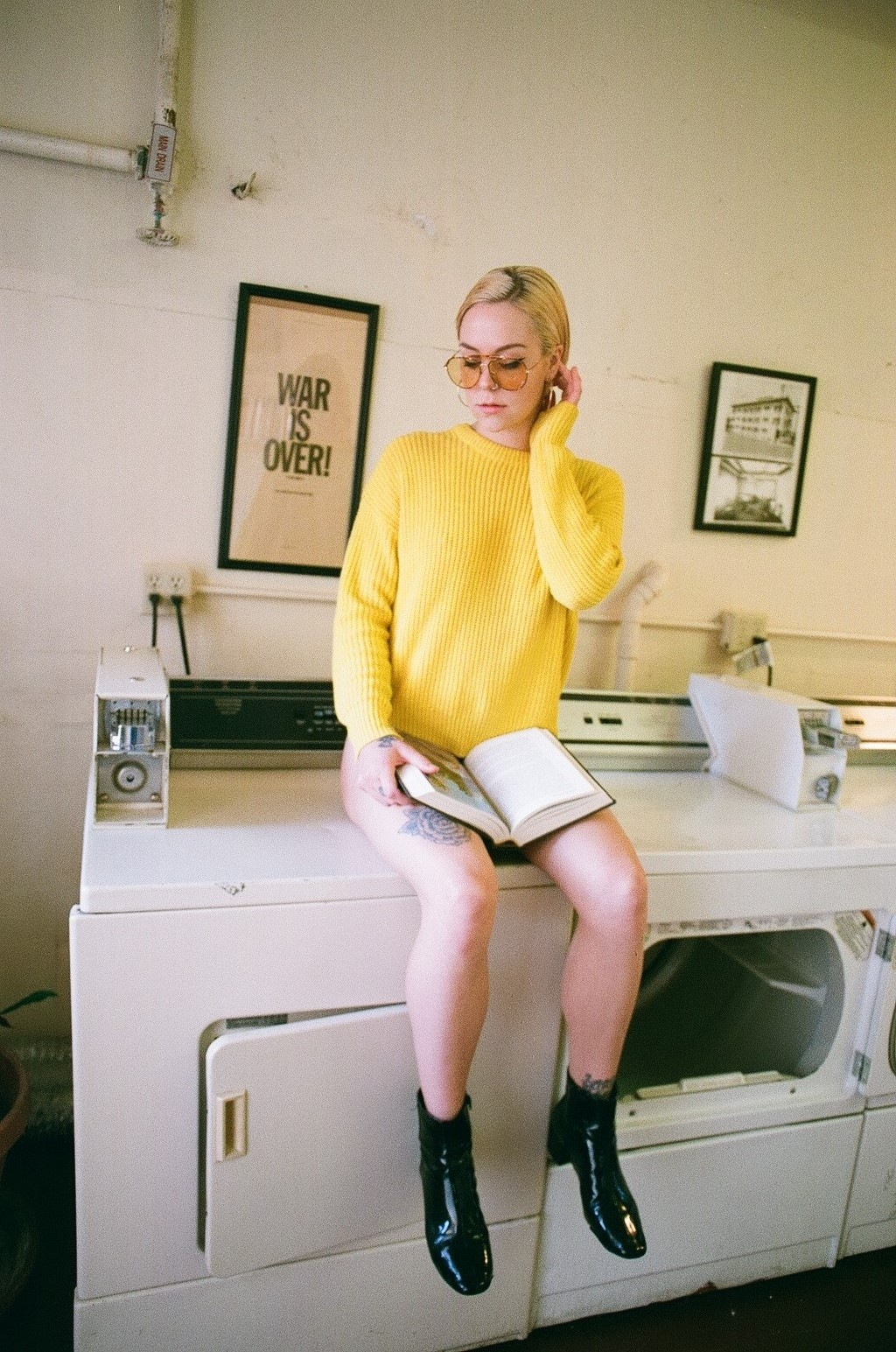 """Model: Hailey.  Laundry shot, the """"War Is Over"""" in the background caught my attention."""