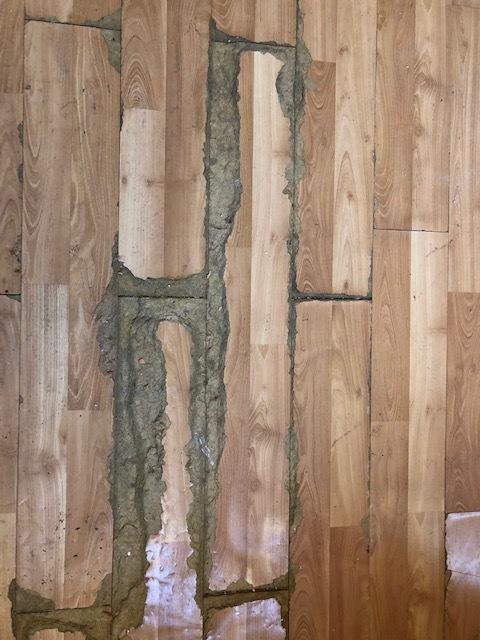 Damaged floor in the master bedroom.