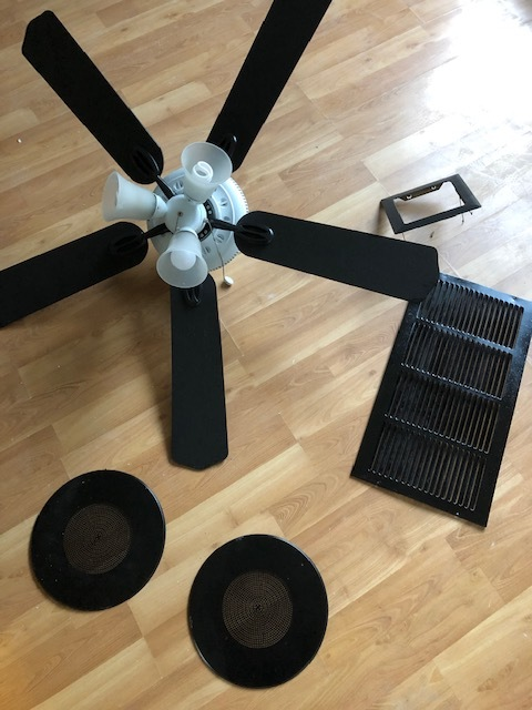 Shout out to Donald for this ceiling fan. I painted the blades black, vents black, and ceiling speaker covers black as well.