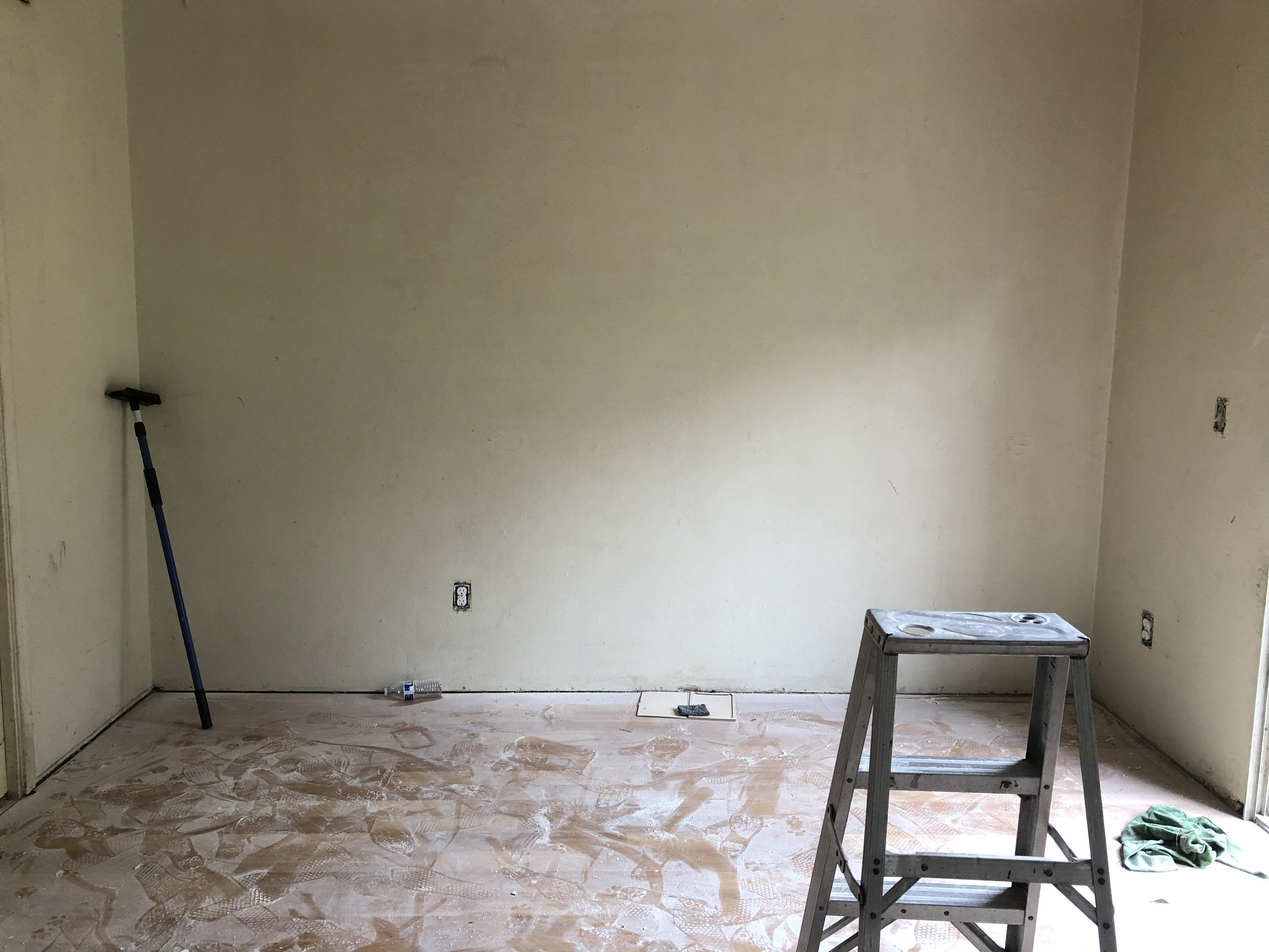 Since this is the north/south position I'm going to set up a photo studio here. So I can room to move up close to step back for a great shot. This wall is done but I forgot to take a picture.