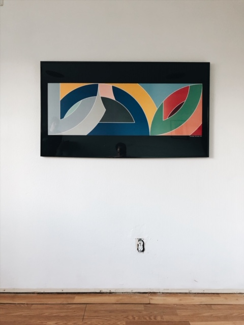 Frank Stella hanging in my bedroom.