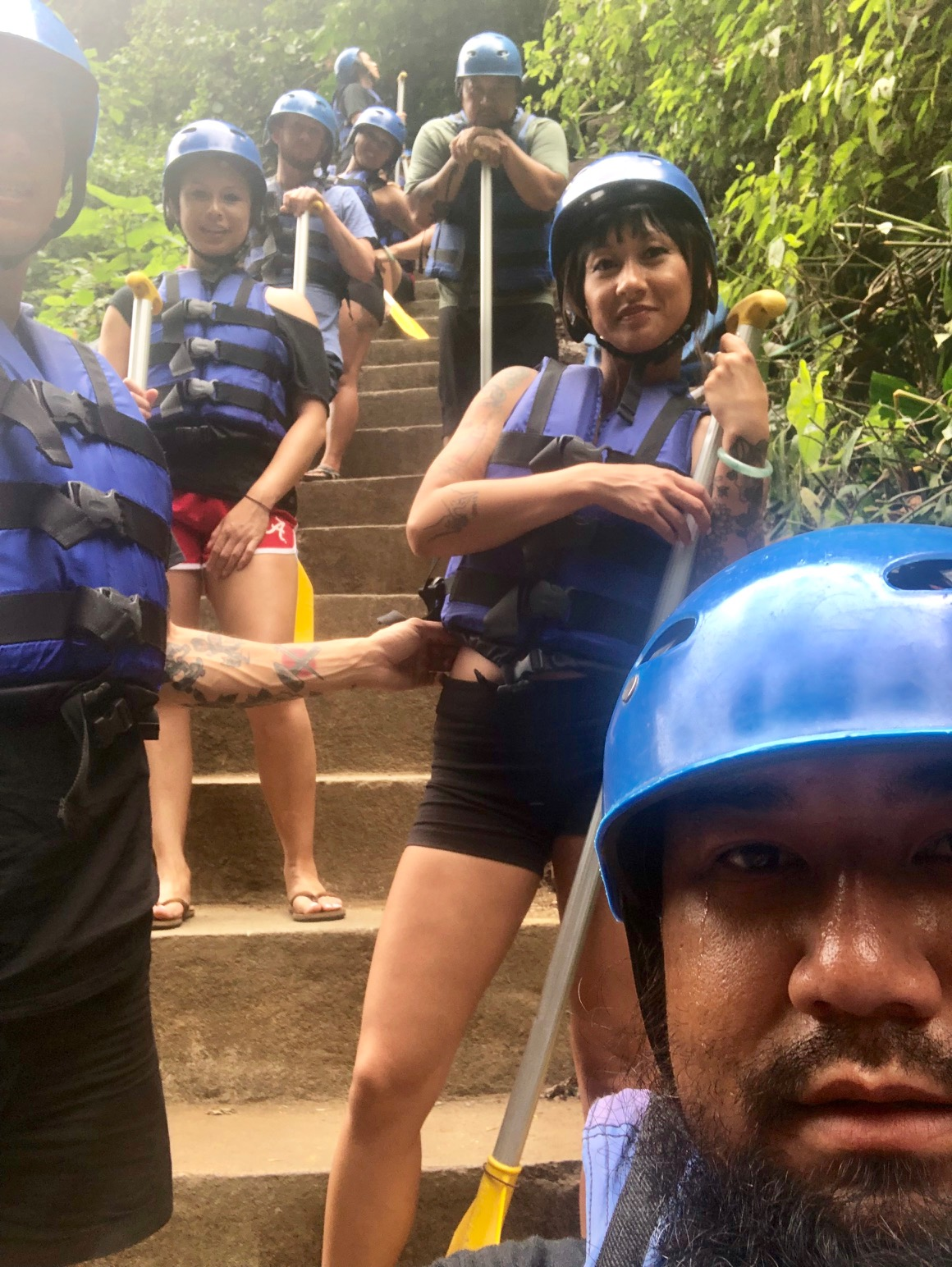 The only photos we have from the rafting. We hiked down these stairs to the river, and took a group photo at the bottom. I was terrified btw, but when we got on it I got super into it! It was SOOOOO MUCH FUN!!