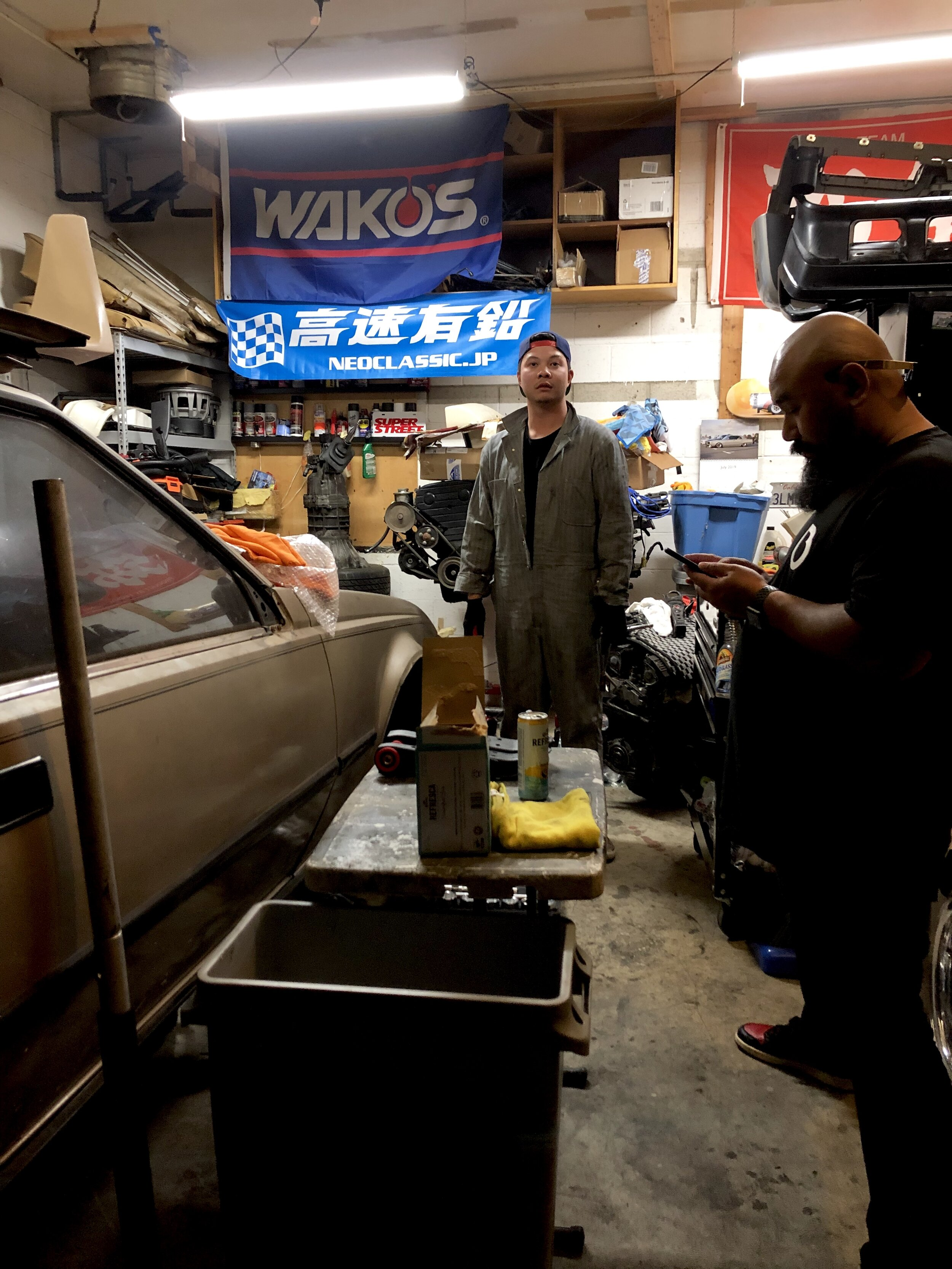 Back at the garage where David spent most of the time working as we drank lol. Dook helped a little.